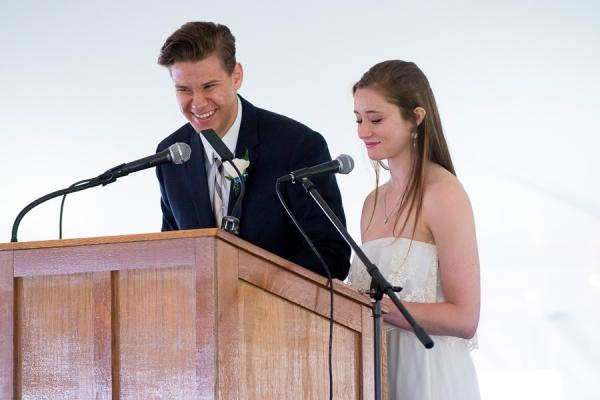students speak at commencement