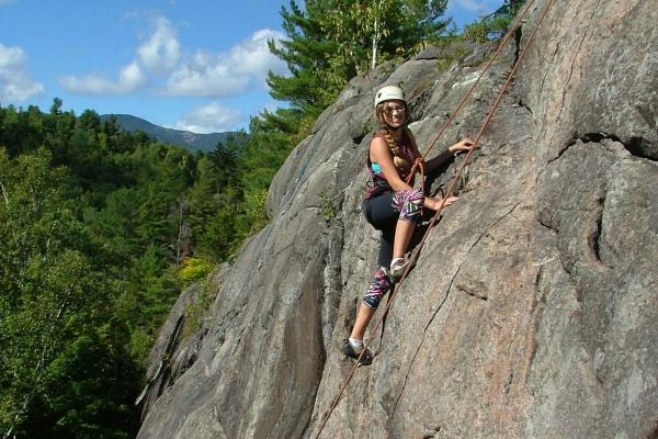 Northwood School student rock climbing in the Adirondacks