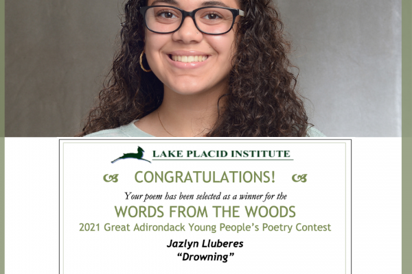 Jazlyn L. '23 winner of the 2021 Words from the Woods Poetry Contest